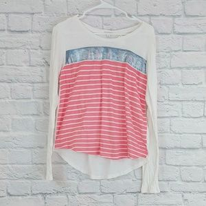 GAP | White LS Tee with Pink & Silver Blue Stripes
